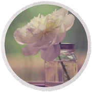 Round Beach Towel featuring the photograph Vintage Peony Flower Still Life by Edward Fielding