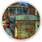 Round Beach Towel featuring the photograph Vintage Peterbilt Truck by Jerry Gammon