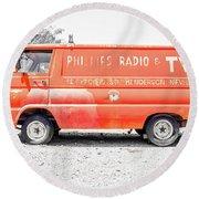 Vintage Phillips Radio And Tv Van Nevada Round Beach Towel