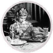 Vintage Photo Depicting Thanksgiving Dinner Round Beach Towel by American School