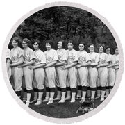Vintage Photo Of Women's Baseball Team Round Beach Towel by American School