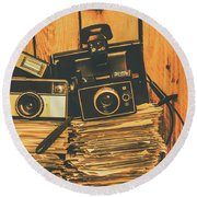 Vintage Photography Stack Round Beach Towel