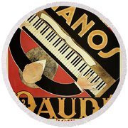 Vintage Piano Art Deco Round Beach Towel