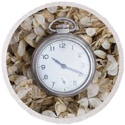 Round Beach Towel featuring the photograph Vintage Pocket Watch Over Dried Flowers by Edward Fielding