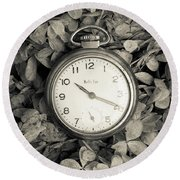 Round Beach Towel featuring the photograph Vintage Pocket Watch Over Flowers by Edward Fielding