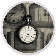 Round Beach Towel featuring the photograph Vintage Pocket Watch Over Old Clocks by Edward Fielding
