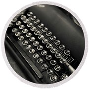 Round Beach Towel featuring the photograph Vintage Portable Typewriter by Edward Fielding