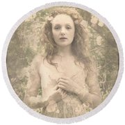 Vintage Portrait Round Beach Towel