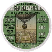 Round Beach Towel featuring the photograph Vintage Poster Of Great Balloon View Of Paris 1878 by John Stephens