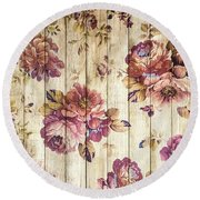 Vintage Purple Shabby Chic Country Roses On Wood Round Beach Towel