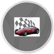 Round Beach Towel featuring the photograph Vintage Racing Car And Flag 2 by John Colley
