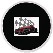 Vintage Racing Car And Flag 3 Round Beach Towel