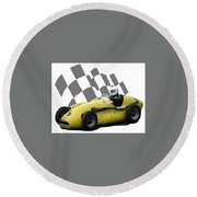 Round Beach Towel featuring the photograph Vintage Racing Car And Flag 4 by John Colley