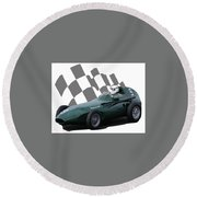 Round Beach Towel featuring the photograph Vintage Racing Car And Flag 5 by John Colley