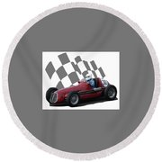 Round Beach Towel featuring the photograph Vintage Racing Car And Flag 6 by John Colley
