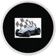 Round Beach Towel featuring the photograph Vintage Racing Car And Flag 7 by John Colley