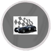 Round Beach Towel featuring the photograph Vintage Racing Car And Flag 8 by John Colley