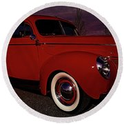 Vintage Red Car Round Beach Towel by Melissa Messick