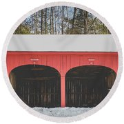 Round Beach Towel featuring the photograph Vintage Red Carriage Barn Lyme by Edward Fielding