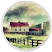 Round Beach Towel featuring the digital art Vintage Red Roof Barn by Lois Bryan