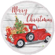 Vintage Red Truck Christmas-a Round Beach Towel