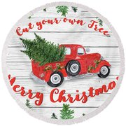 Vintage Red Truck Christmas-b Round Beach Towel