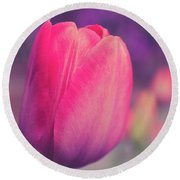 Round Beach Towel featuring the photograph Vintage Red Tulip Flower by Edward Fielding