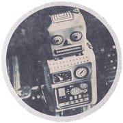 Vintage Robot Toy Round Beach Towel
