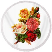 Round Beach Towel featuring the digital art Vintage Rose I by Kim Kent