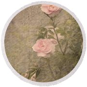 Vintage Rose Poster Round Beach Towel