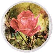 Vintage Rose Round Beach Towel by Tina  LeCour