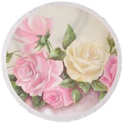 Vintage Roses Shabby Chic Roses Painting Print Round Beach Towel