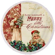 Vintage Santa Claus - Glittering Christmas Round Beach Towel by Audrey Jeanne Roberts