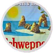Vintage Schweppes Algarve Mosaic Round Beach Towel