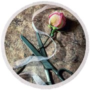 Vintage Scissors, Dried Pink Rose And Ribbon Round Beach Towel