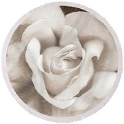 Round Beach Towel featuring the photograph Vintage Sepia Rose Flower by Jennie Marie Schell
