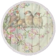 Vintage Shabby Chic Floral Faded Birds Design Round Beach Towel