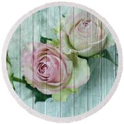 Vintage Shabby Chic Pink Roses On Wood Round Beach Towel