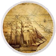 Vintage Ship Map Round Beach Towel