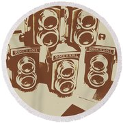 Vintage Snapshots And Old Cameras Round Beach Towel