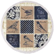 Vintage Songbird Patch 2 Round Beach Towel by Debbie DeWitt