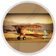 Vintage Stearman Round Beach Towel