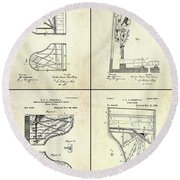 Vintage Steinway 4 Panel Patent Art Round Beach Towel