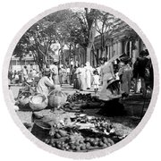 Vintage Street Scene In Ponce - Puerto Rico - C 1899 Round Beach Towel by International  Images