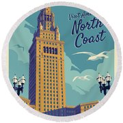 Vintage Style Cleveland Travel Poster - America's North Coast Round Beach Towel