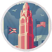 Vintage Style Columbus Travel Poster Round Beach Towel