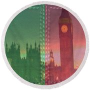 Vintage Style Wall Decorations London Clock Tower And Double Deckker Bus Round Beach Towel