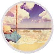 Vintage Summer Postcard Round Beach Towel