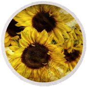 Vintage Sunflowers Round Beach Towel by Wallaroo Images