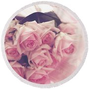 Vintage Sweetness Round Beach Towel by Rachel Mirror